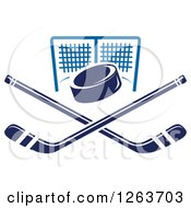Clipart Of A Hockey Puck Over Crossed Sticks And A Goal Net Royalty Free Vector Illustration by Vector Tradition SM