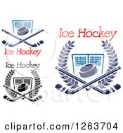 Clipart Of Hockey Pucks Crossed Sticks And Goal Nets With Text Royalty Free Vector Illustration