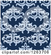 Clipart Of A Seamless Pattern Background Of Vintage Blue Floral Damask Royalty Free Vector Illustration