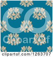 Clipart Of A Seamless Pattern Background Of Vintage Tan Floral Damask On Blue Royalty Free Vector Illustration