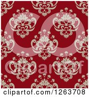 Clipart Of A Seamless Pattern Background Of Vintage Floral Damask On Red Royalty Free Vector Illustration