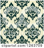 Clipart Of A Seamless Pattern Background Of Vintage Floral Damask Royalty Free Vector Illustration
