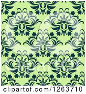 Clipart Of A Seamless Pattern Background Of Vintage Floral Damask On Green Royalty Free Vector Illustration