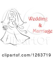 Clipart Of A Black And White Sketched Bride With Red Wedding And Marriage Text Royalty Free Vector Illustration