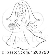 Clipart Of A Black And White Sketched Bride Royalty Free Vector Illustration