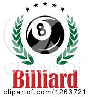 Clipart Of A Billiards Eight Ball In A Green Laurel Wreath With Stars Over Text Royalty Free Vector Illustration