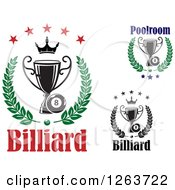 Clipart Of Billiards Eight Balls With Trophies In Laurels Royalty Free Vector Illustration