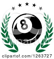 Clipart Of A Billiards Eight Ball In A Green Laurel Wreath With Stars Royalty Free Vector Illustration