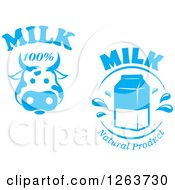 Clipart Of Blue Cow And Milk Designs Royalty Free Vector Illustration