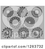 Clipart Of Medieval Lace Circle Designs On Gray Royalty Free Vector Illustration
