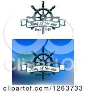 Clipart Of A Ships Helm With King Of The Sea Since 1920 Text Royalty Free Vector Illustration