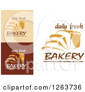 Clipart Of Sliced Bread And Daily Fresh Bakery Text Designs Royalty Free Vector Illustration
