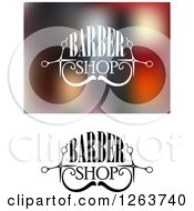 Clipart Of Barber Shop Designs With A Mustache Royalty Free Vector Illustration