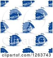 Clipart Of A Seamless Pattern Background Of Blue Ships Royalty Free Vector Illustration