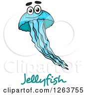 Happy Blue Jellyfish Over Text