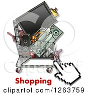 Clipart Of A Hand Cursor Over A Cart Full Of Electronics And Shopping Text Royalty Free Vector Illustration