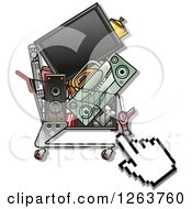 Clipart Of A Hand Cursor Over A Shopping Cart Full Of Electronics Royalty Free Vector Illustration by Vector Tradition SM