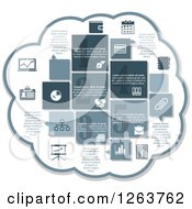 Poster, Art Print Of Cloud With Business Infographic Icons Of A Chart Wallet Money Calendar Diary Files Handshake Briefcase News Books Graph Pen And Pie Chart