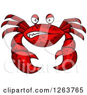 Clipart Of A Snarling Red Crab Royalty Free Vector Illustration