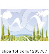 Clipart Of A Nature Background Of Hills Trees And Birds Royalty Free Vector Illustration by Vector Tradition SM