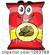 Clipart Of A Happy Potato Chip Bag Royalty Free Vector Illustration