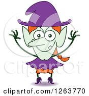 Clipart Of A Halloween Witch Being Mischievous Royalty Free Vector Illustration by Zooco