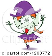 Clipart Of A Halloween Witch Being Silly Royalty Free Vector Illustration by Zooco