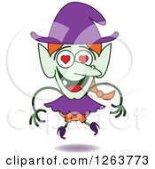 Clipart Of A Halloween Witch In Love Royalty Free Vector Illustration by Zooco