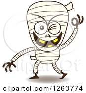 Clipart Of A Halloween Mummy Winking Royalty Free Vector Illustration
