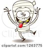 Clipart Of A Halloween Mummy Being Silly Royalty Free Vector Illustration by Zooco
