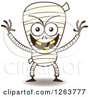 Clipart Of A Halloween Mummy Being Mischievous Royalty Free Vector Illustration