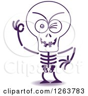 Clipart Of A Halloween Skeleton Winking Royalty Free Vector Illustration by Zooco