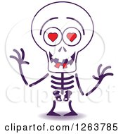 Clipart Of A Halloween Skeleton In Love Royalty Free Vector Illustration by Zooco