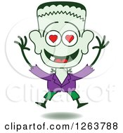 Clipart Of A Halloween Frankenstein In Love Royalty Free Vector Illustration by Zooco