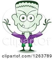 Clipart Of A Halloween Frankenstein Being Mischievous Royalty Free Vector Illustration by Zooco