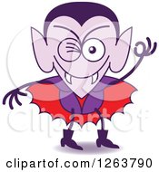 Clipart Of A Halloween Dracula Vampire Winking Royalty Free Vector Illustration by Zooco