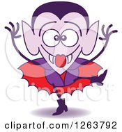 Clipart Of A Halloween Dracula Vampire Being Silly Royalty Free Vector Illustration by Zooco