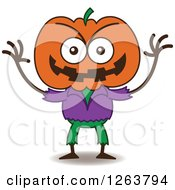 Clipart Of A Halloween Jackolantern Scarecrow Winking Being Mischievous Royalty Free Vector Illustration