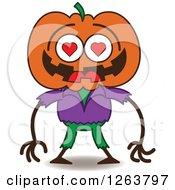 Clipart Of A Halloween Jackolantern Scarecrow In Love Royalty Free Vector Illustration