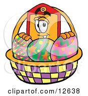 Price Tag Mascot Cartoon Character In An Easter Basket Full Of Decorated Easter Eggs