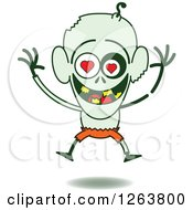 Clipart Of A Halloween Zombie In Love Royalty Free Vector Illustration by Zooco