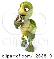 Clipart Of A 3d Tortoise Eating An Ice Cream Cone Royalty Free Illustration