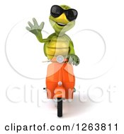 Clipart Of A 3d Tortoise Wearing Sunglasses Waving And Driving A Scooter Royalty Free Illustration