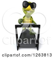 Clipart Of A 3d Tortoise Wearing Sunglasses And Running On A Treadmill Royalty Free Illustration