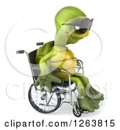 Clipart Of A 3d Sad Tortoise Wearing Sunglasses And Sitting In A Wheelchair Royalty Free Illustration