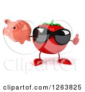 Clipart Of A 3d Tomato Wearing Sunglasses And Holding A Piggy Bank And Thumb Up Royalty Free Vector Illustration