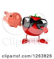 Clipart Of A 3d Tomato Wearing Sunglasses And Holding A Piggy Bank Royalty Free Vector Illustration
