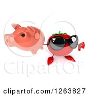 Clipart Of A 3d Tomato Wearing Sunglasses And Holding A Piggy Bank And Thumb Down Royalty Free Vector Illustration