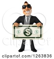 Clipart Of A 3d White Businessman Wearing Sunglasses And Holding Out A Giant Dollar Bill Royalty Free Vector Illustration