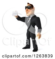 Clipart Of A 3d White Businessman Wearing Sunglasses And Holding Out A Business Card Royalty Free Vector Illustration